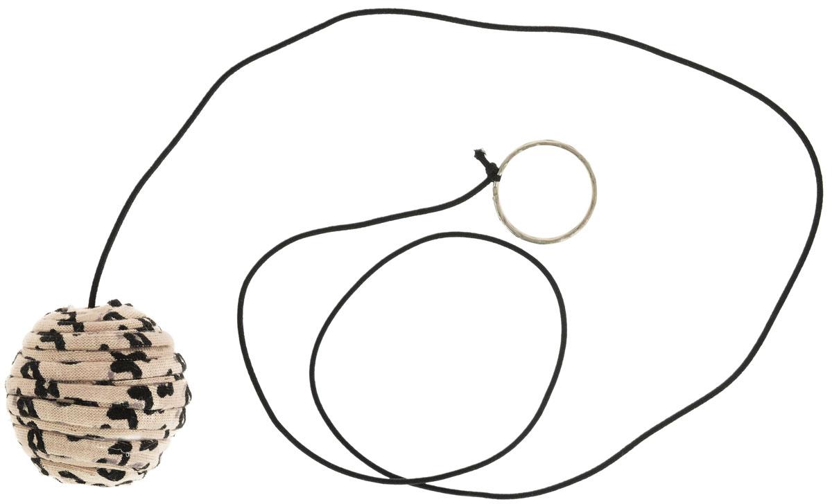 """Игрушка для кошек GLG """"Мячик на резинке с кольцом"""",цвет: бежевый, черный"""