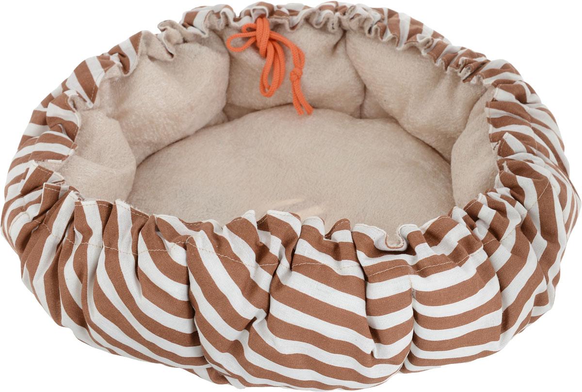 Лежак для собак GLG Кувшинка, цвет: белый, коричневый, 65 смL009_белый, коричневыйЛежак для собак Кувшинка обязательно понравится вашему питомцу. Он выполнен из качественного сочетания хлопка с полиэстером и дополнен набивкой из поролона. Материал не теряет своей формы долгое время. Края лежака дополнены внутренним утягивающим шнурком. Мягкий лежак станет излюбленным местом вашего питомца, подарит ему спокойный и комфортный сон, а также убережет вашу мебель от шерсти.