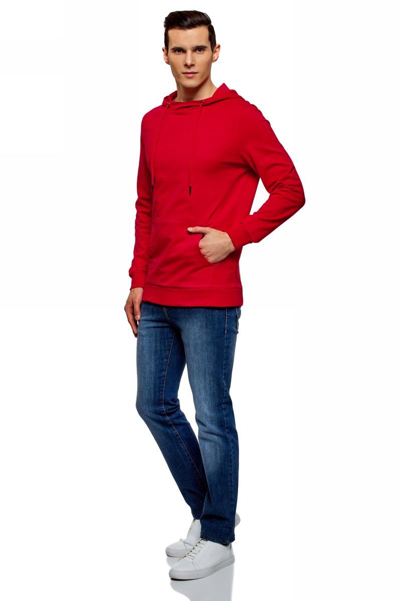 Худи мужское oodji Basic, цвет: красный. 5B111004M/47648N/4500N. Размер S (46;48)5B111004M/47648N/4500NМужское базовое худи от oodji выполнено из натурального хлопкового трикотажа. Модель с длинными рукавами и капюшоном спереди дополнена карманом кенгуру.