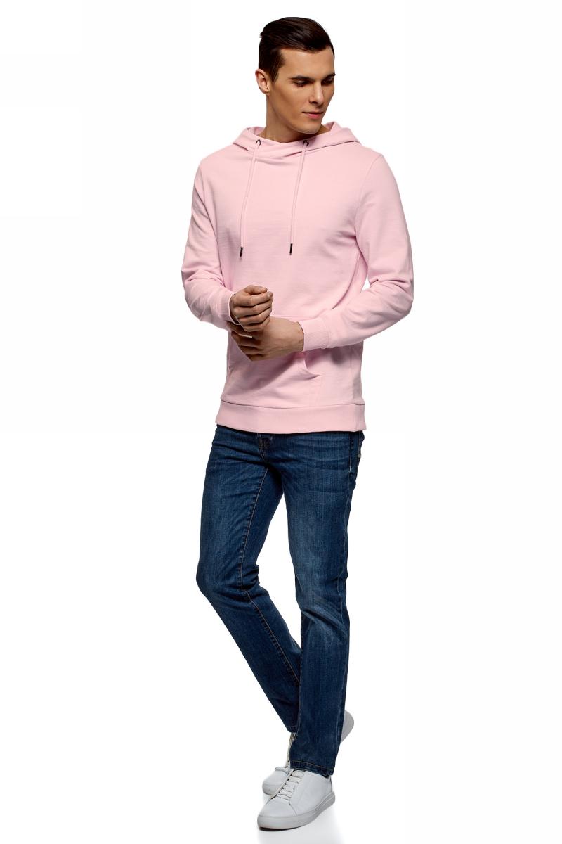 Худи мужское oodji Basic, цвет: светло-розовый. 5B111004M/47648N/4000N. Размер M (50)5B111004M/47648N/4000NМужское базовое худи от oodji выполнено из натурального хлопкового трикотажа. Модель с длинными рукавами и капюшоном спереди дополнена карманом кенгуру.