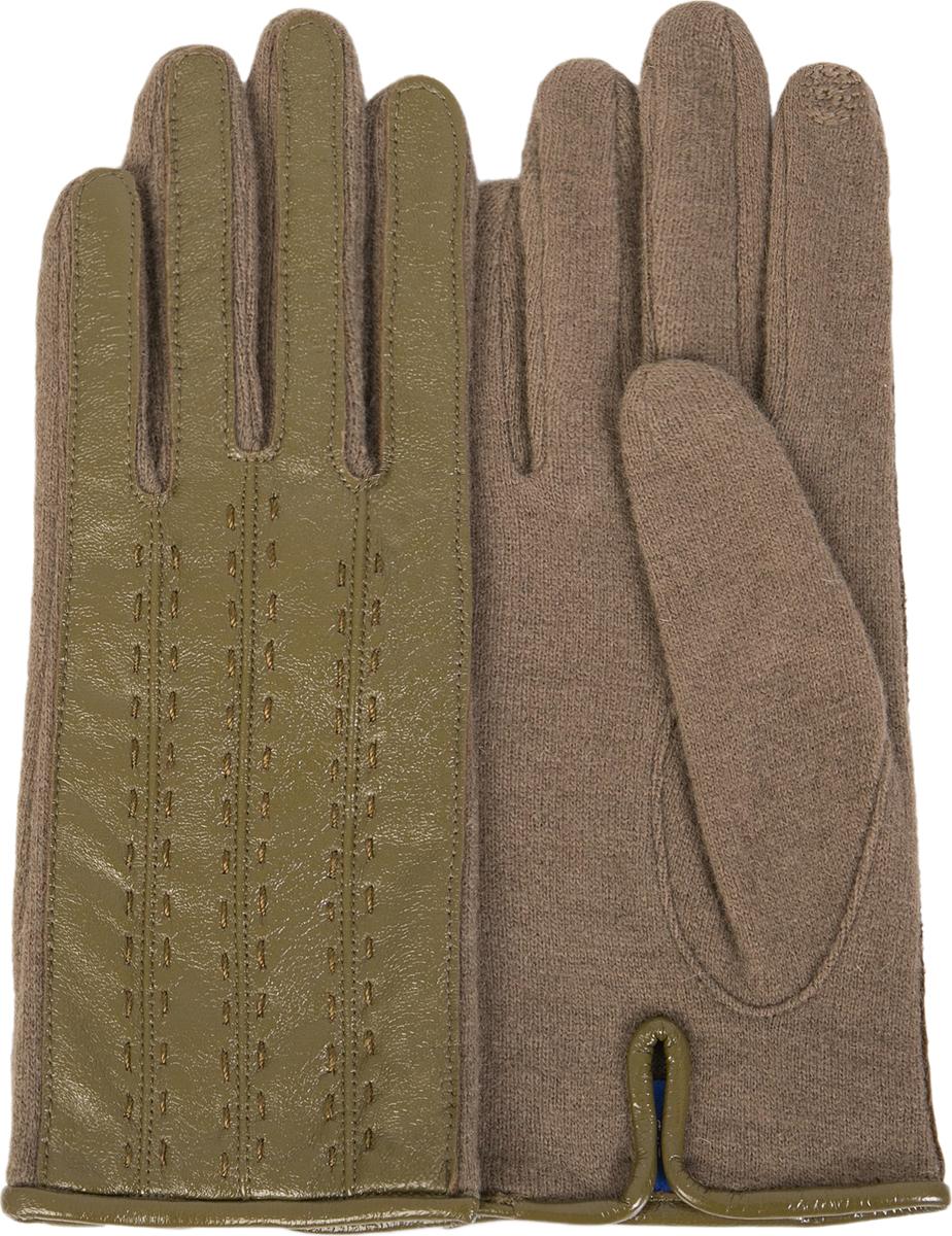 Перчатки женские Dali Exclusive, цвет: оливковый, бежевый. i.LT_VASSA/NUTRIA. Размер M (7)