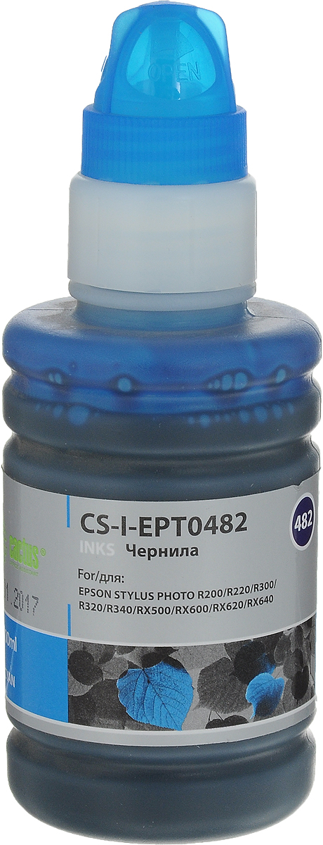 Cactus CS-I-EPT0482, Cyan чернила для Epson Stylus Photo R200/R220/R300/R320/R340