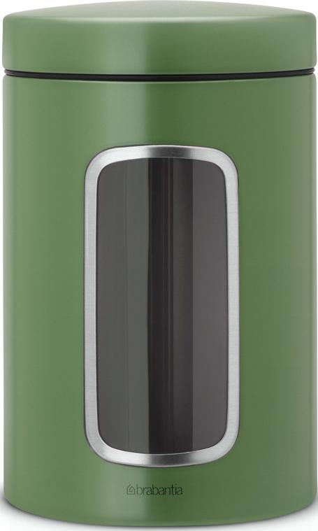 Контейнер для сыпучих продуктов Brabantia, с окном, цвет: зеленый, 1,4 л486005Контейнеры Brabantia для сыпучих продуктов позволяют дольше сохранить Ваш кофе, чай, макаронные изделия и др. продукты свежими. •Благодаря антистатической поверхности содержимое контейнера не прилипает к пластиковому окошку, поэтому Вы всегда можете видеть, что и в каком количестве содержится в банке.•Специальная крышка не пропускает запахи и позволяет дольше сохранять аромат продуктов.•Контейнер изготовлен из антикоррозийной стали с защитным покрытием и легко чистится благодаря гладкой внутренней поверхности. •Контейнер Brabantia объемом 1,4 л вмещает 500 г кофе или 1 кг сахара. •Гарантия 10 лет.