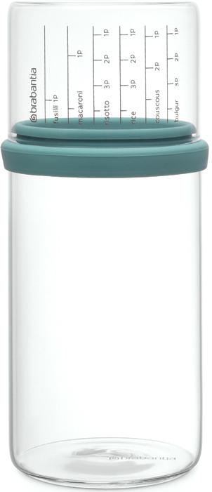 Банка для сыпучих продуктов Brabantia, с мерным стаканом, цвет: мятный, 1 л290244Отмеряйте нужное количество для порции – мерный стакан с четкими делениями. Продукты надолго сохраняют свежесть и аромат – силиконовый уплотнитель. Хорошо видно содержимое и его объем – прозрачное стекло. Подходит для мыть в посудомоечной машине.