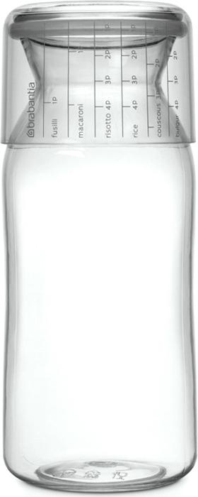 Контейнер пищевой Brabantia, с мерным стаканом, цвет: прозрачный, 1,3 л290220Отмеряйте нужное количество для порции – мерный стакан с четкими делениями.Высыпайте легко – удобная форма бутылки.Продукты надолго сохраняют свежесть и аромат – силиконовый уплотнитель.Хорошо видно содержимое и его объем – прочный прозрачный пластик.Подходит для мыть в посудомоечной машине.