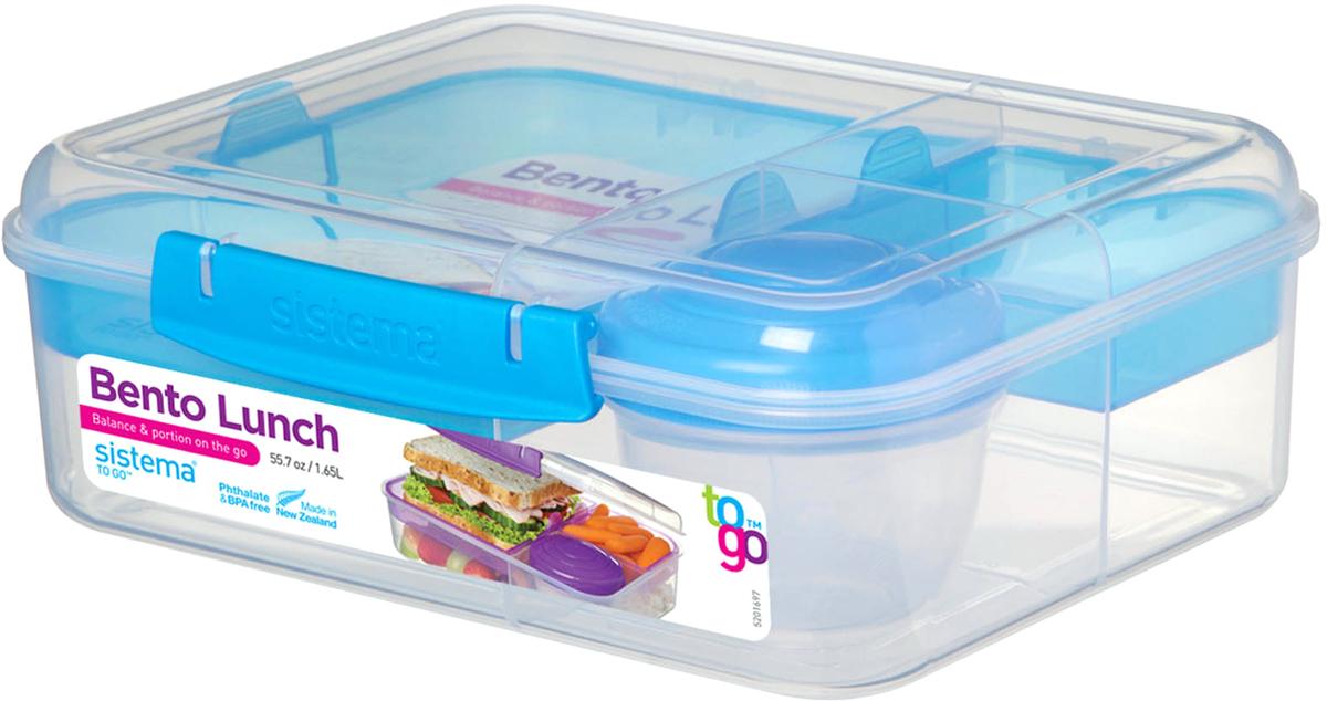 Идеальное решение для полноценного приема пищи вне дома. Раздельное хранение блюд – трехсекционный контейнер + баночка (150 мл). Подходит для использования в холодильнике и морозильной камере. Можно использовать в микроволновой печи без крышки. Сохраняет свежесть продуктов – силиконовый уплотнитель. Плотное закрытие – фирменные защелки Sistema. Легко моется – можно мыть в посудомоечной машине. Безопасный – не содержит бисфенол А и фталаты. Разработано и произведено в Новой Зеландии.