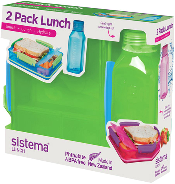 Набор емкостей Sistema Lunch, цвет: зеленый, 2 предмета. 15971597Практичное решение для перекуса вне дома – удобно брать с собой. Вместительный – контейнер (975 мл) с разделителями и бутылкой (475 мл).Бутылка в стиле Retro – квадратная форма и модные цвета.Гигиенично – безконтактное открытие и закрытие питьевого клапана. Подходит для использования в холодильнике и морозильной камере. Сохраняет свежесть продуктов – силиконовый уплотнитель. Плотное закрытие – фирменные защелки Sistema. Легко моется – можно мыть в посудомоечной машине. Безопасный – не содержит бисфенол А и фталаты. Разработано и произведено в Новой Зеландии.