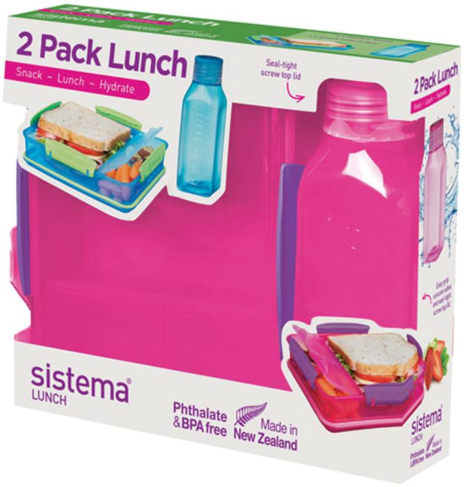 Набор емкостей Sistema Lunch, цвет: красный, 2 предмета. 15971597Практичное решение для перекуса вне дома – удобно брать с собой. Вместительный – контейнер (975 мл) с разделителями и бутылкой (475 мл).Бутылка в стиле Retro – квадратная форма и модные цвета.Гигиенично – безконтактное открытие и закрытие питьевого клапана. Подходит для использования в холодильнике и морозильной камере. Сохраняет свежесть продуктов – силиконовый уплотнитель. Плотное закрытие – фирменные защелки Sistema. Легко моется – можно мыть в посудомоечной машине. Безопасный – не содержит бисфенол А и фталаты. Разработано и произведено в Новой Зеландии.
