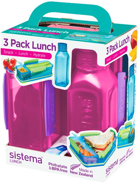 Набор емкостей Sistema Lunch, цвет: красный, 3 предмета. 1595 бутылка для воды sistema hydrate трио цвет фиолетовый 480 мл 820