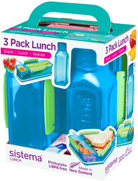 Практичное решение для перекуса вне дома – удобно брать с собой. В комплекте: два контейнера (410мл и 975мл) с разделителями и бутылкой (475 мл).  Бутылка в стиле Retro – квадратная форма и модные цвета.  Гигиенично – безконтактное открытие и закрытие питьевого клапана. Подходит для использования в холодильнике и морозильной камере. Сохраняет свежесть продуктов – силиконовый уплотнитель. Плотное закрытие – фирменные защелки Sistema. Легко моется – можно мыть в посудомоечной машине. Безопасный – не содержит бисфенол А и фталаты. Разработано и произведено в Новой Зеландии.