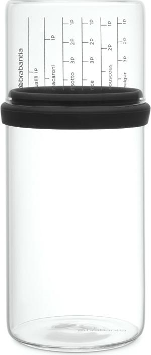 Банка для сыпучих продуктов Brabantia, с мерным стаканом, цвет: черный, 1 л290282Отмеряйте нужное количество для порции – мерный стакан с четкими делениями. Продукты надолго сохраняют свежесть и аромат – силиконовый уплотнитель. Хорошо видно содержимое и его объем – прозрачное стекло. Подходит для мыть в посудомоечной машине.