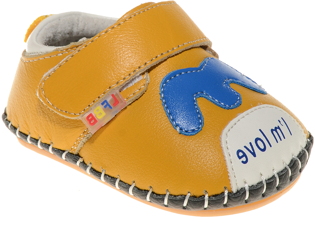 Пинетки для мальчика Счастливый ребенок, цвет: желтый. A 50. Размер 13A 50Стильные и модные пинетки Счастливый ребенок, стилизованные под ботиночки, не только элегантны, они еще и практичны. В них ваш ребенок будет чувствовать себя комфортно и непринужденно. Удобный задник и перемычка на липучке надежно фиксируют пинетки на ножке. Натуральная кожа дает возможность «дышать» ноге, не позволяя развиваться опрелостям и потертостям. Модель пинеток для самых маленьких оснащена такой подошвой, какая не даст упасть.Милые, нежные, удобные и анатомически правильные для формирующейся ножки детские пинетки станут любимой обувью вашего ребенка.