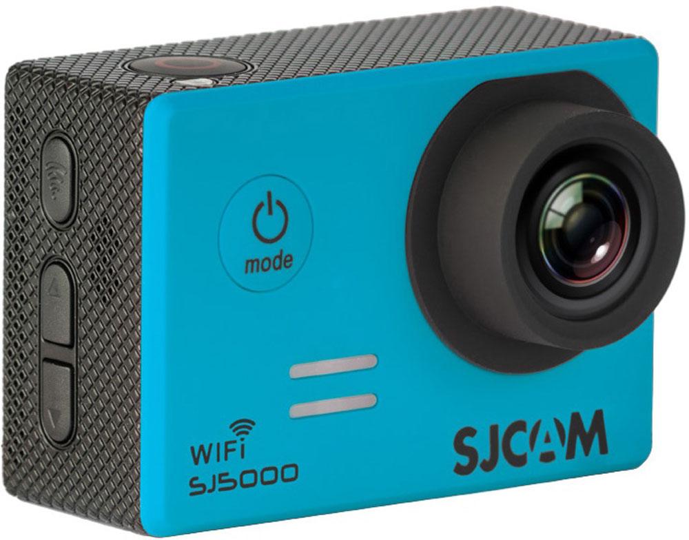 SJCAM SJ5000 WiFI, Blue экшн-камераSJCAM SJ5000 WiFI (blue);SJCAM SJ5000 WiFI (blue)SJCAM SJ5000 Wi-Fi является продолжением новой линейки экшен камер, которую компания SJCAM представилав декабре 2014 года. Это многофункциональная экшн-камера обладает высоким качеством не только фото ивидео съёмки, но и самого материала. Прочная водонепроницаемая конструкция делает её простонезаменимой в экстремальном отдыхе и спорте.Камера оснащена специальным Wi-Fi модулем, который действует на расстоянии 15 метров.Он позволяеттранслировать видео в прямом эфире на экран Вашего Android или iOS, управлять съёмкой со смартфона, атакже загружать видео с камеры на смартфон с последующей публикацией в Youtube и социальных сетях.Благодаря режиму цейтаоферной съёмки камера может сжимать многочасовые события (например,расцветающую розу) до нескольких секунд. Теперь восход солнца после съёмки произойдёт прямо на глазахваших друзей!SJCAM SJ5000 может быть использована в качестве видеорегистратора благодаря возможности циклическойзаписи. Для этого разместите её на стекле автомобиля с помощью специального крепления и нажмите накнопку записи.Данную модель можно использовать и в качестве Full HD веб-камеры. Всё, что необходимо сделать - этоподключить SJCAM к компьютеру через кабель USB и запустить Skype.SJCAM SJ5000 Wi-Fi получила новый сенсор MN34110PA от Panasonic и чип Novatek 96655 что позволяет получитьсочную и качественную картинку в качестве 1080p. Просмотр отснятого материала теперь стал намногоудобнее, благодаря большому дисплею с диагональю 2 дюйма и разрешением 960x240 точек.В комплект входит множество аксессуаров и креплений, которые помогут вам произвести видеосъемку в любыхэкстремальных условиях. Для записи видео под водой на глубине до 30 метров имеется специальныйводонепроницаемый бокс.Разрешение фото: 4320 x 3250