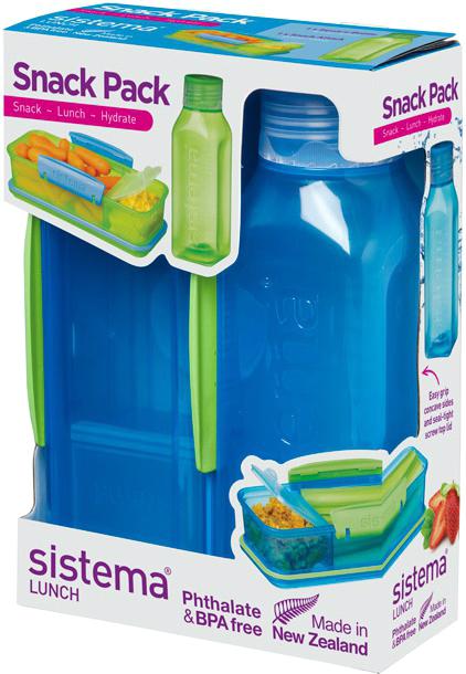 Набор емкостей Sistema Snack, цвет: синий, 2 предмета. 15961596Практичное решение для перекуса вне дома – удобно брать с собой. Вместительный – контейнер (410 мл) с разделителями и бутылкой (475 мл).Бутылка в стиле Retro – квадратная форма и модные цвета.Гигиенично – безконтактное открытие и закрытие питьевого клапана. Подходит для использования в холодильнике и морозильной камере. Сохраняет свежесть продуктов – силиконовый уплотнитель. Плотное закрытие – фирменные защелки Sistema. Легко моется – можно мыть в посудомоечной машине. Безопасный – не содержит бисфенол А и фталаты. Разработано и произведено в Новой Зеландии.