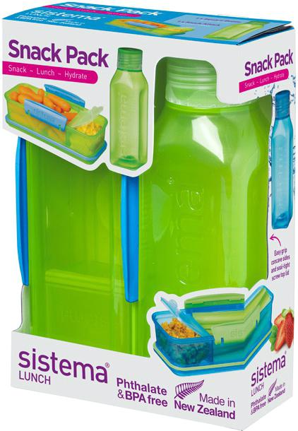 Набор емкостей Sistema Snack, цвет: зеленый, 2 предмета. 15961596Практичное решение для перекуса вне дома – удобно брать с собой. Вместительный – контейнер (410 мл) с разделителями и бутылкой (475 мл).Бутылка в стиле Retro – квадратная форма и модные цвета.Гигиенично – безконтактное открытие и закрытие питьевого клапана. Подходит для использования в холодильнике и морозильной камере. Сохраняет свежесть продуктов – силиконовый уплотнитель. Плотное закрытие – фирменные защелки Sistema. Легко моется – можно мыть в посудомоечной машине. Безопасный – не содержит бисфенол А и фталаты. Разработано и произведено в Новой Зеландии.
