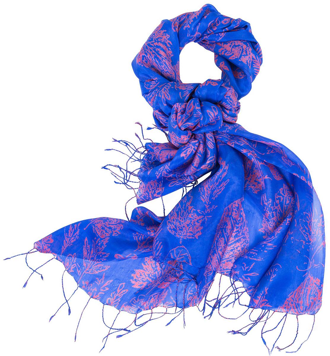 Палантин женский Michel Katana, цвет: мультиколор. S20-LEAF/BLUE. Размер 110 x 180 см