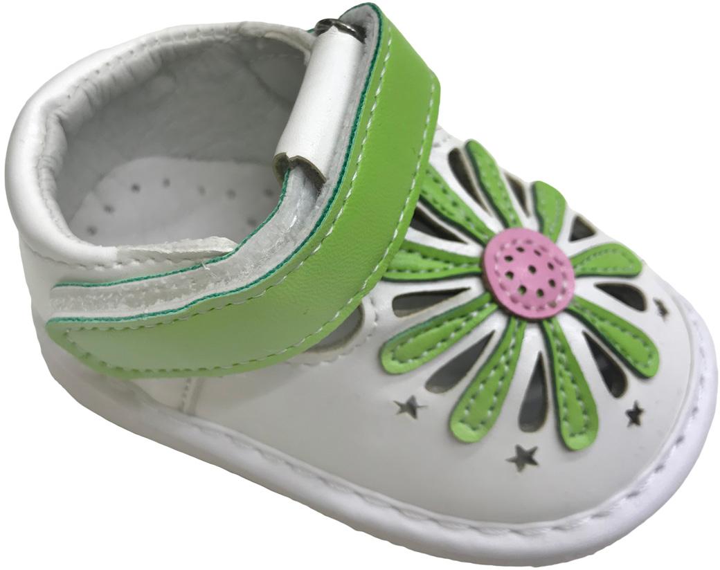 Пинетки для девочки М+Д, цвет: зеленый. BB4. Размер 15BB4Пинетки предназначены для прогулок в коляске в теплое время года. Легкие изящные пинетки из искусственной кожи подходят для девочек первых месяцев жизни. Пинетки не стесняют движений ребенка и не доставляют малышу дискомфорт.
