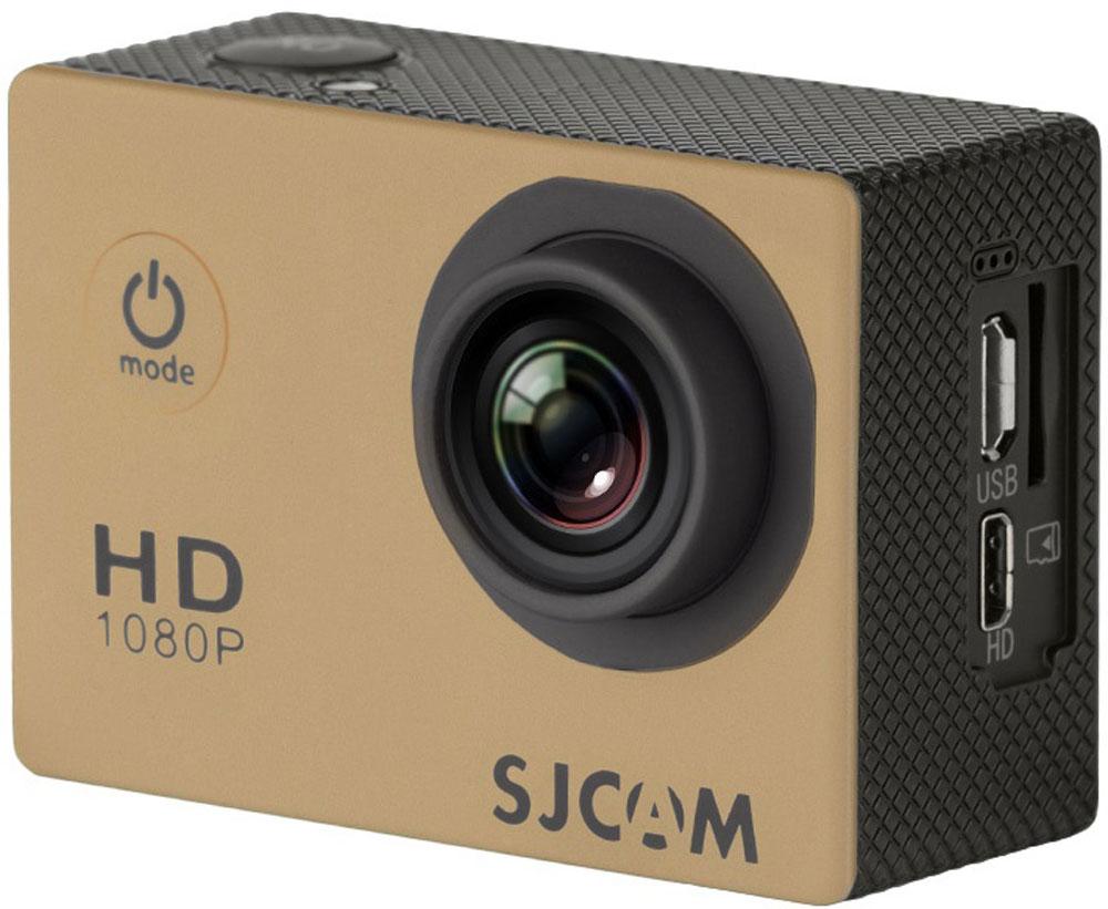 SJCAM SJ4000, Gold экшн-камераSJCAM SJ4000 (gold);SJCAM SJ4000 (gold)SJCAM SJ4000 - это недорогой и качественный аналог GoPro. С ее помощью можно снимать экстремальные события, закрепив камеру в удобном месте. Вы также можете делать впечатляющие съёмки под водой на глубине до 30 метров благодаря водонепроницаемому боксу в комплекте.Благодаря режиму цейтаоферной съёмки камера SJCAM может сжимать многочасовые события (например, расцветающую розу) до нескольких секунд. Теперь восход солнца после съёмки произойдёт прямо на глазах ваших друзей! SJCAM SJ4000 может быть использована в качестве видеорегистратора благодаря возможности циклической записи. Для этого разместите её на стекле автомобиля с помощью специального крепления и нажмите на кнопку записи.Данную модель можно использовать и в качестве Full HD веб-камеры. Всё, что необходимо сделать - это подключить SJCAM к компьютеру через кабель USB и запустить Skype.Камера SJ4000 подойдёт практически для любых видов спорта. В комплекте вы найдёте крепления на велосипед, на шлем, липучки и ремни, позволяющие закрепить камеру на любые поверхности.Процессор: Novatek NT96650 Дисплей: LCD, 1,5 (4:3) Емкость аккумулятора: 900 мАч Время автономной работы: до 80 минут