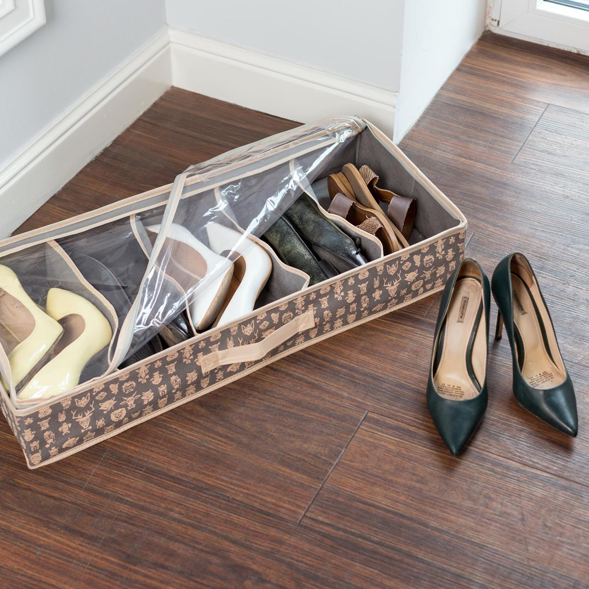 Органайзер для обуви Homsu Hipster Animals, 5 отделений, 66 х 32 х 11 смHOM-862Органайзер для обуви с жесткими бортами, рассчитан на 5 пар обуви. Данный органайзер поможет уберечь вашу обувь от пыли и загрязнений, а также наведет порядок и оптимизирует пространство в гардеробе. Выполнен в трендовом сером цвете.