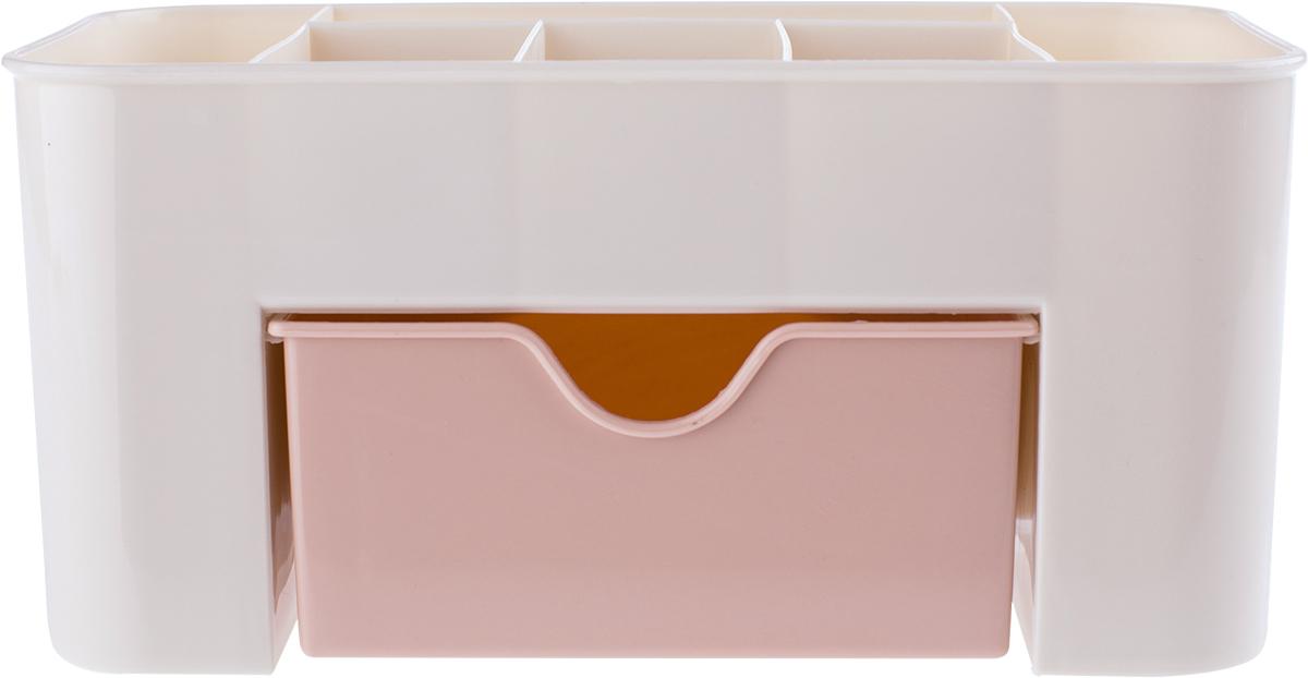 Нежный молочно-розовый органайзер для косметики станет идеальным помощником для стильной и практичной девушки, которая поддерживает порядок в своих вещах. Верхний ярус состоит из отсеков, куда можно поместить кисточки, крема, любимые духи и много других необходимых вещей. Также имеется вместительный выдвижной нижний ящик, в котором удобно разместятся все ваши любимые косметические продукты.
