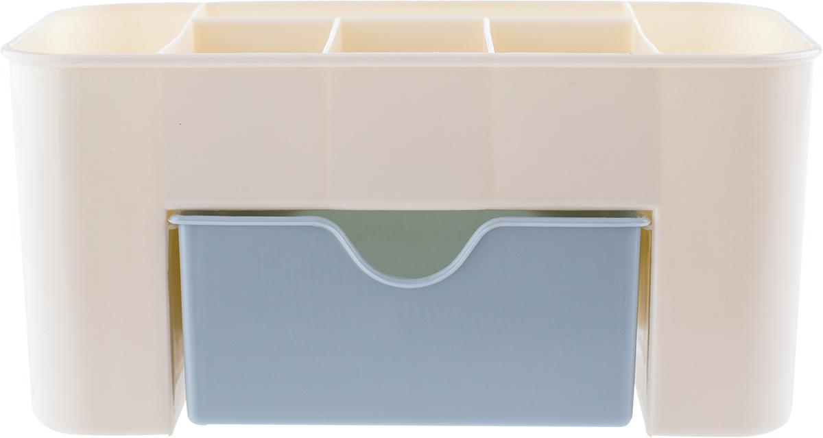 Органайзер для косметики Homsu Basic, цвет: голубой, 16 х 15,5 х 7 смHOM-928Нежный молочно-голубой органайзер для косметики станет идеальным помощником для стильной и практичной девушки, которая поддерживает порядок в своих вещах. Верхний ярус состоит из отсеков, куда можно поместить кисточки, крема, любимые духи и много других необходимых вещей. Также имеется вместительный выдвижной нижний ящик, в котором удобно разместятся все ваши любимые косметические продукты.