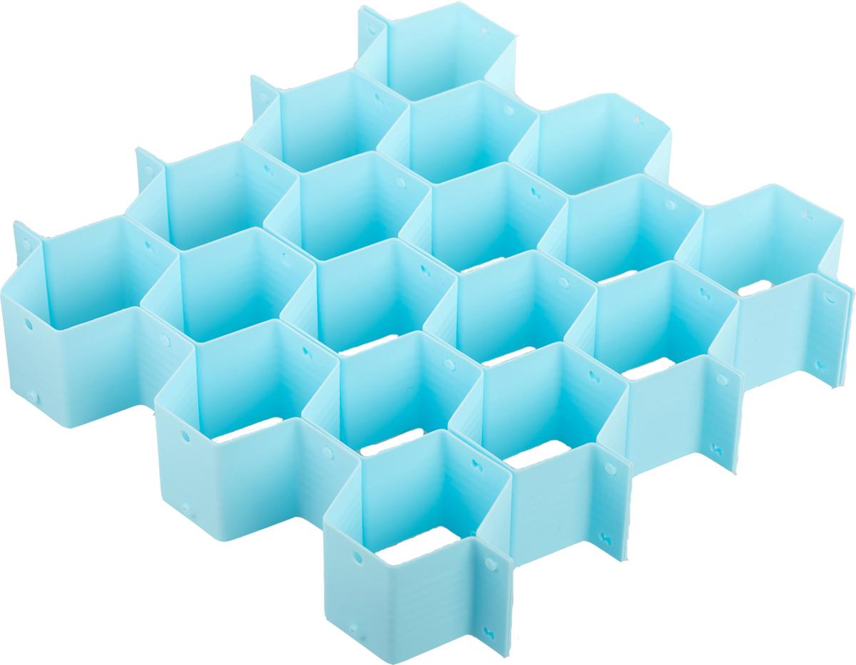 Разделитель для ящика Homsu Basic. Соты, цвет: голубойHOM-931Согласитесь, достаточно трудно ориентироваться в перемешанной куче белья. Как бы вы аккуратно его не складывали, в спешке получается бардак. Органайзер поможет навести порядок в ящике с бельем. Он продается в разобранном виде, благодаря чему вы можете собрать его под размер своего ящика. Состоит из 18 отсеков.