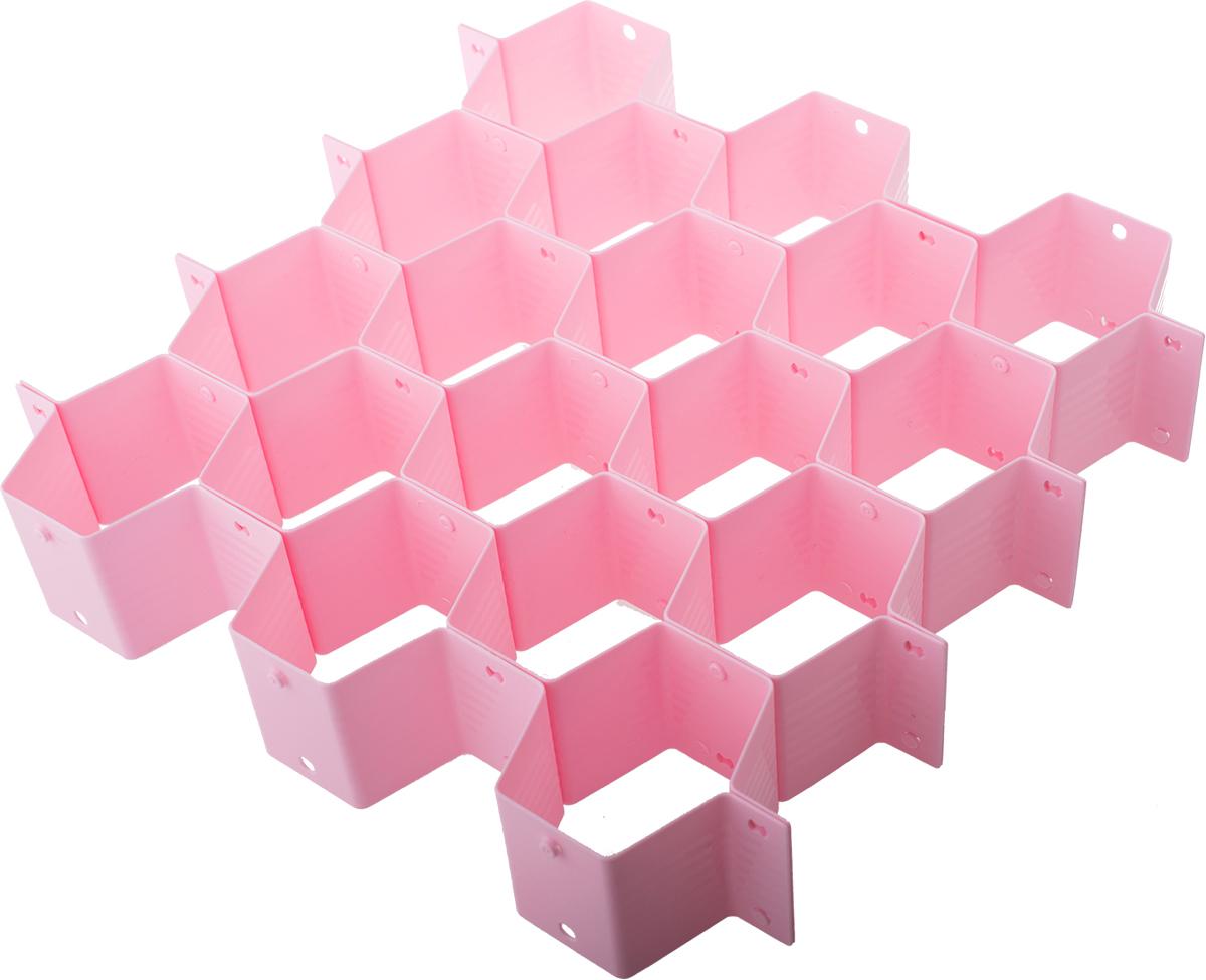 Разделитель для ящика Homsu Basic. Соты, цвет: розовыйHOM-932Согласитесь, достаточно трудно ориентироваться в перемешанной куче белья. Как бы вы аккуратно его не складывали, в спешке получается бардак. Органайзер поможет навести порядок в ящике с бельем. Он продается в разобранном виде, благодаря чему вы можете собрать его под размер своего ящика. Состоит из 18 отсеков.