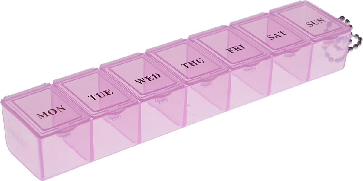 Таблетница Homsu, цвет: розовый, 16 х 3,5 х 2 смHOM-949Вы забываете о приеме необходимых таблеток? Таблетница Homsu Неделька поможет вам принимать лекарства и витамины вовремя и в полном объеме. Таблетница имеет 7 ячеек, каждая ячейка закрывается отдельной крышкой. Просто положите дневную норму лекарств в каждую ячейку и в течение недели вы не забудете о приеме. Таблетница Homsu удобно поместится даже в небольшой сумке.