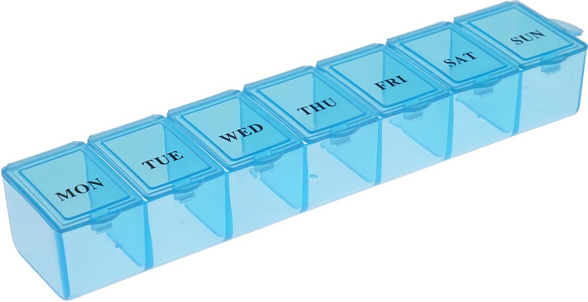 Таблетница Homsu, цвет: синий, 16 х 3,5 х 2 смHOM-950Вы забываете о приеме необходимых таблеток? Таблетница Homsu Неделька поможет вам принимать лекарства и витамины вовремя и в полном объеме. Таблетница имеет 7 ячеек, каждая ячейка закрывается отдельной крышкой. Просто положите дневную норму лекарств в каждую ячейку и в течение недели вы не забудете о приеме. Таблетница Homsu удобно поместится даже в небольшой сумке.