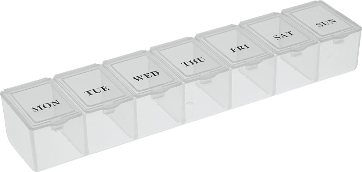 Таблетница Homsu, цвет: белый, 16 х 3,5 х 2 смHOM-951Вы забываете о приеме необходимых таблеток? Таблетница Неделька поможет вам принимать лекарства и витамины вовремя и в полном объеме. Таблетница имеет 7 ячеек, каждая ячейка закрывается отдельной крышкой. Просто положите дневную норму лекарств в каждую ячейку и в течение недели вы не забудете о приеме. Таблетница удобно поместится даже в небольшой сумке.