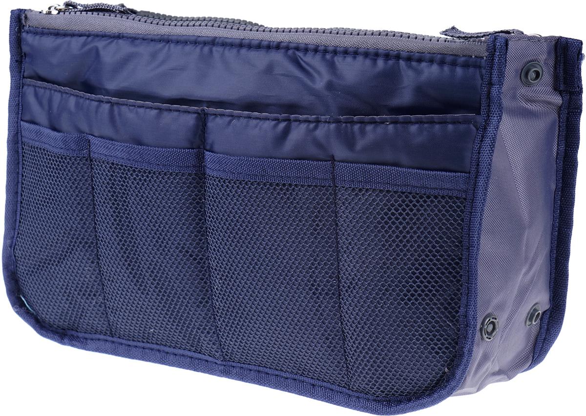 Органайзер для сумки Homsu, цвет: синий, 30 х 8,5 х 18,5 смHOM-954Органайзер для сумки Homsu благодаря трем вместительным отделениям для вещей, четырем кармашкам по бокам и шести кармашкам в виде сетки обеспечит полный порядок в вашей сумке. Кроме того, изделие обладает интересным стилем, выполнено в синем цвете и оснащено двумя крепкими ручками, что позволяет применять его и вне сумки, как отдельный аксессуар.