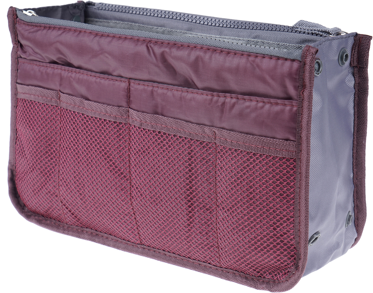 Органайзер для сумки Homsu, цвет: бордовый, 30 х 8,5 х 18,5 смHOM-955Этот органайзер для сумки благодаря трем вместительным отделениям для вещей, четырем кармашкам по бокам и шести кармашкам в виде сетки обеспечит полный порядок в вашей сумке. Кроме того, изделие обладает интересным стилем, выполнено в бордовом цвете и оснащёно двумя крепкими ручками, что позволяет применять его и вне сумки, как отдельный аксессуар.