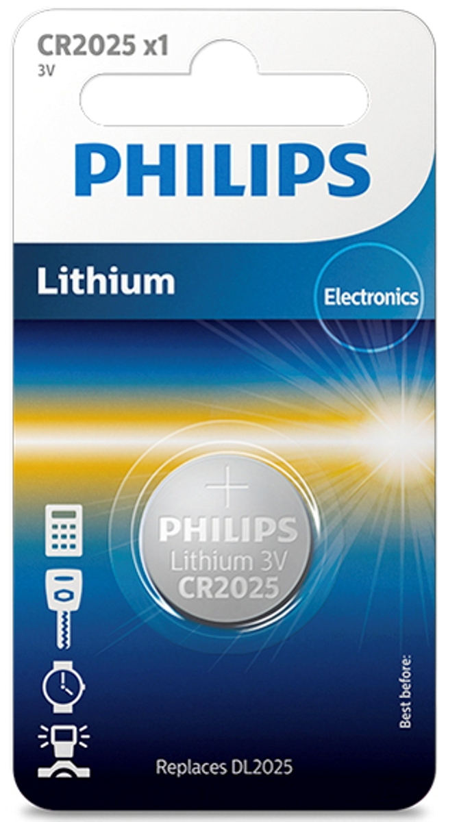 Батарейка литиевая Philips Пуговица, 3 В, 150 мА/чCR2025/01B;CR2025/01BПри производстве использована технология для гарантированного надежного идолгосрочного использования. Технологии литиевых, серебряных и щелочных соединений обеспечивают надежнуюмощность питания и длительный срок службы элементов в миниатюрных устройствах. Батарея остается годной для использования в течение 10 лет. Любая батарея разряжается, когда она не используется. Эта батарея содержит, покрайней мере, 80% своей первоначальной энергии до окончания срока годности.