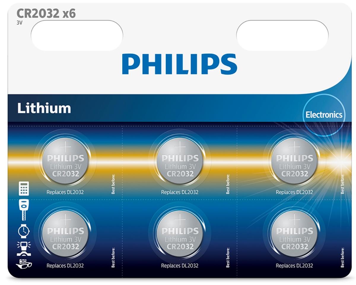 Батарейка литиевая Philips Пуговица, 3 В, 210 мА/ч, 6 штCR2032P6/01B;CR2032P6/01BПри производстве использована технология для гарантированного надежного и долгосрочного использования. Технологии литиевых, серебряных и щелочных соединений обеспечивают надежную мощность питания и длительный срок службы элементов в миниатюрных устройствах. Батарея остается годной для использования в течение 10 лет Любая батарея разряжается, когда она не используется.та батарея содержит, по крайней мере, 80% своей первоначальной энергии до окончания срока годности.