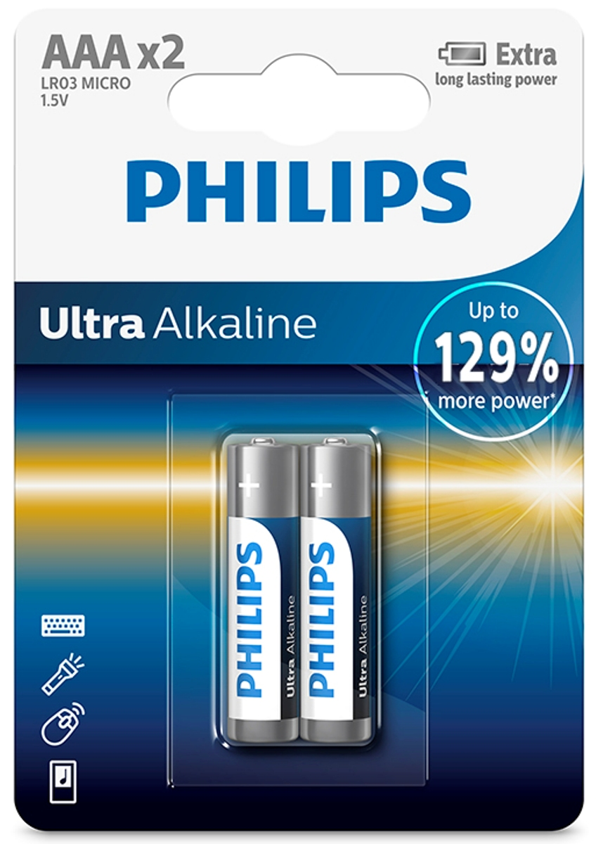 "Батарейка щелочная Philips ""Ultra"", тип AAA, 1,5 В, 2 шт"