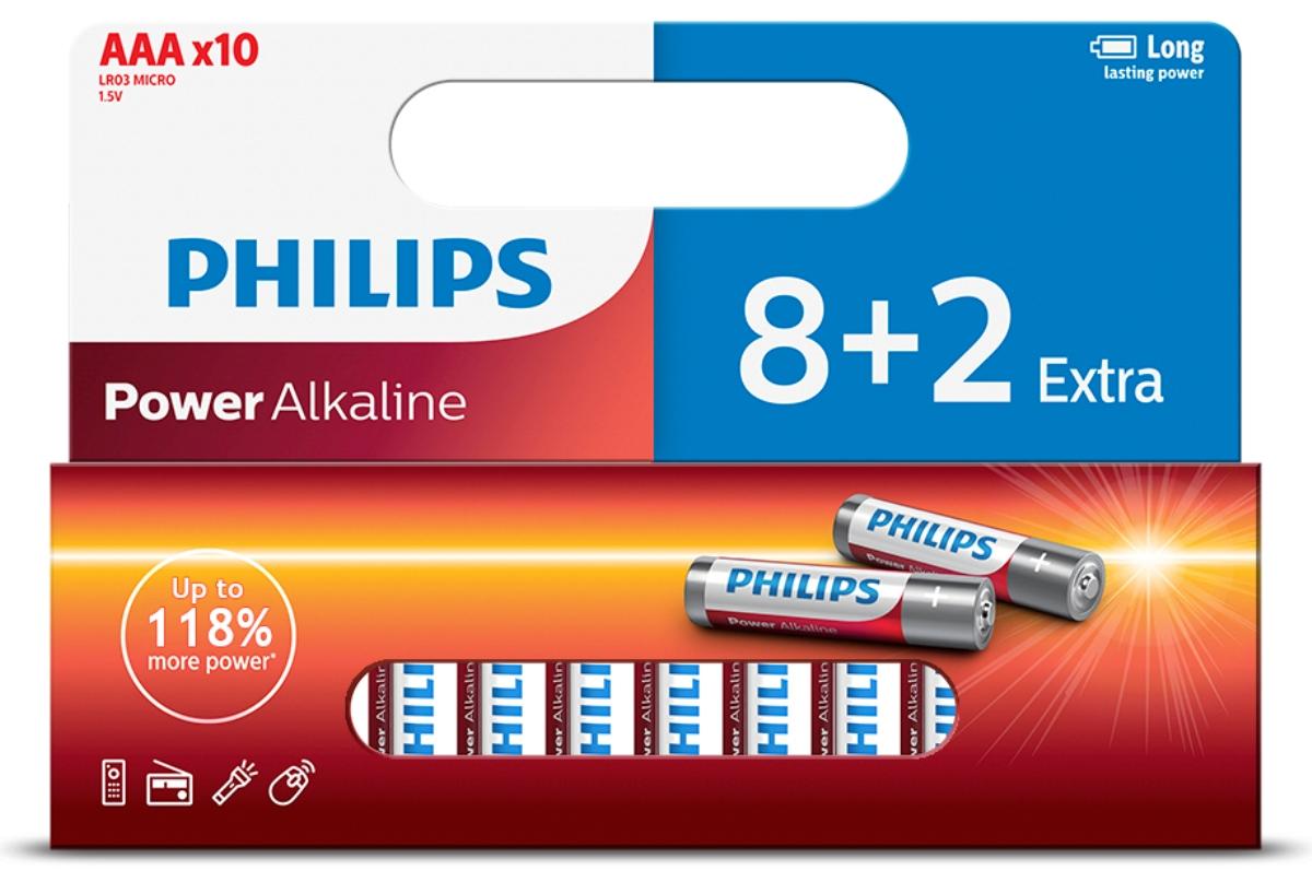 Батарейка щелочная Philips Power, тип AAА, 1,5 В, 10 шт