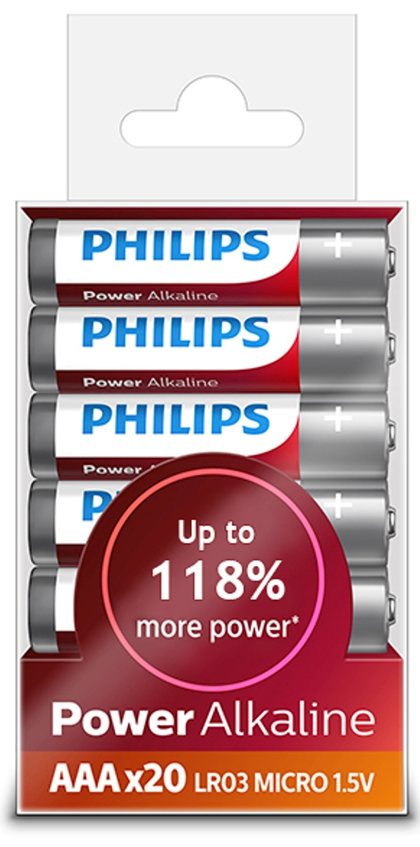 "Батарейка щелочная Philips ""Power"", тип AAА, 1,5 В, 20 шт"