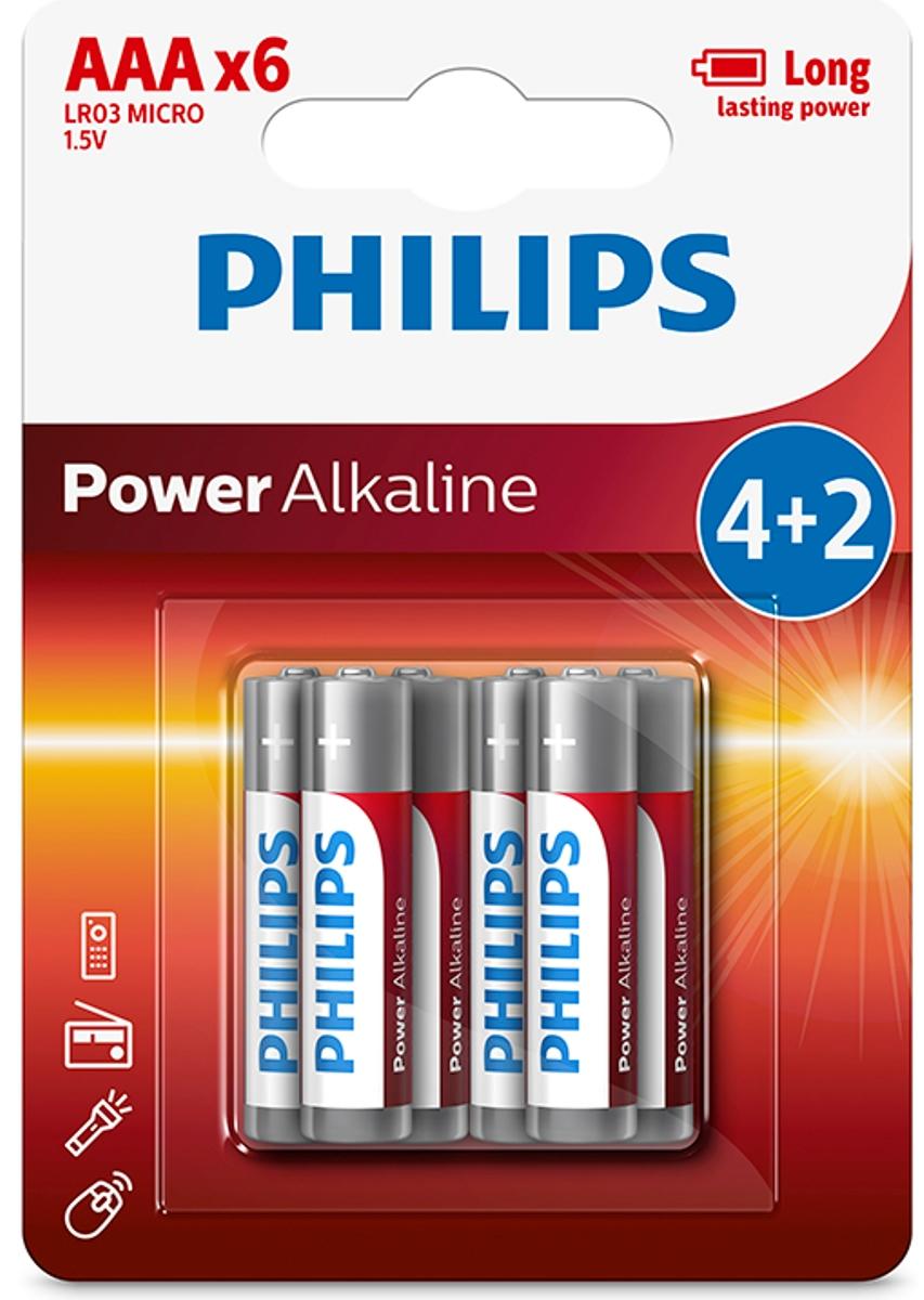 Батарейка щелочная Philips Power, тип AAА, 1,5 В, 6 штLR03P6BP/10;LR03P6BP/10