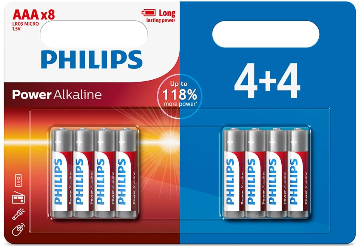 Батарейка щелочная Philips Power, тип AAА, 1,5 В, 8 шт