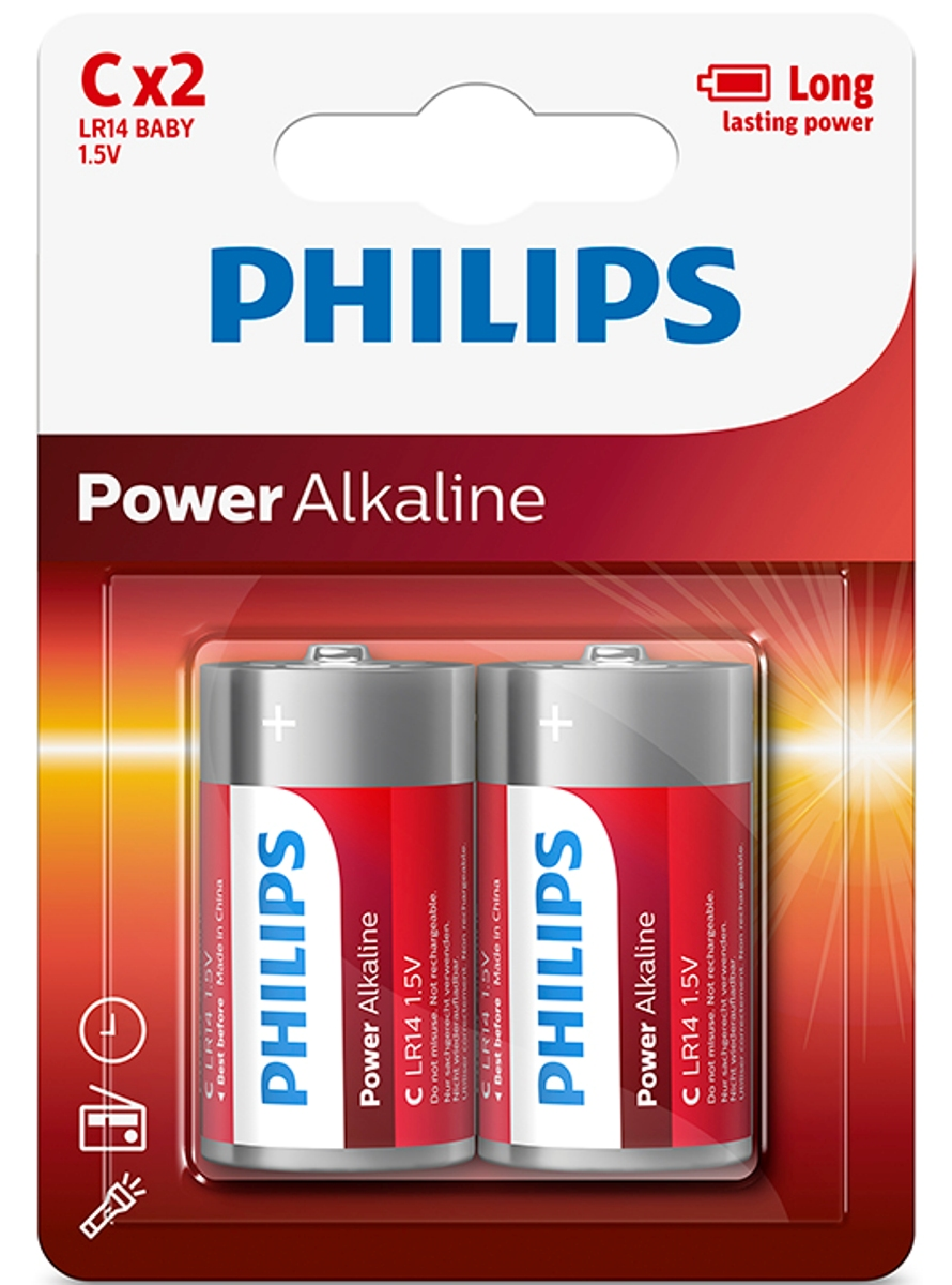 "Батарейка щелочная Philips ""Power"", тип С, 1,5 В, 2 шт"