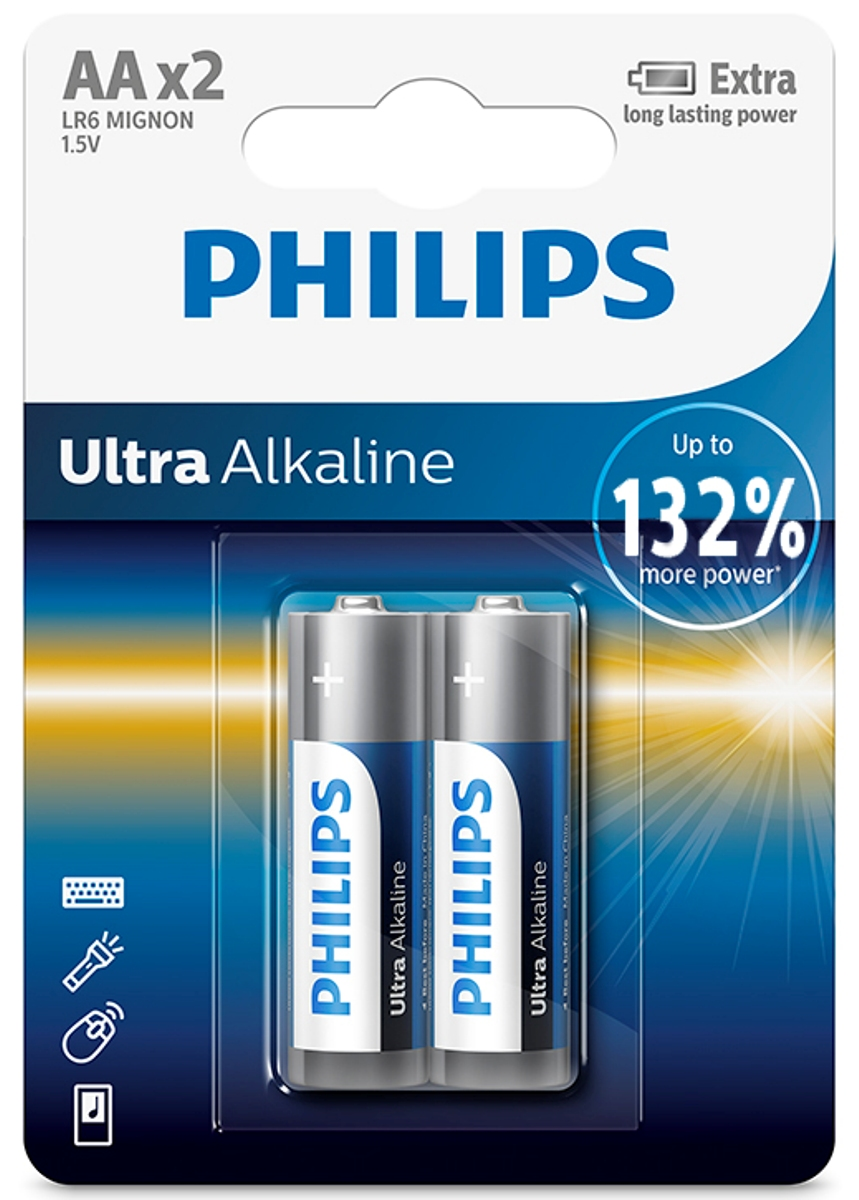 "Батарейка щелочная Philips ""Ultra"", тип AA, 1,5 В, 2 шт"