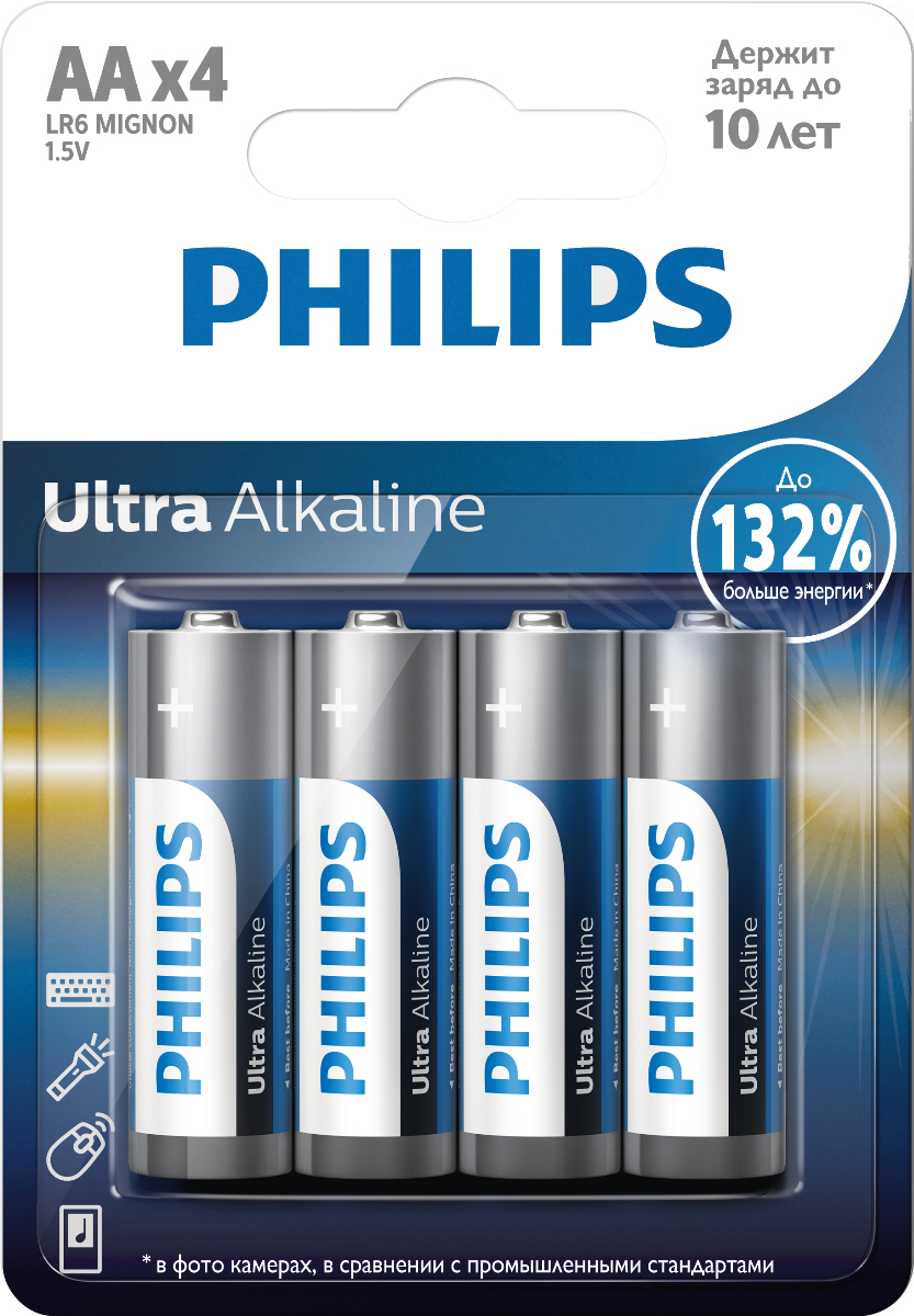 Батарейка щелочная Philips Ultra, тип AA, 1,5 В, 4 шт philips 37pfl4606h в одессе