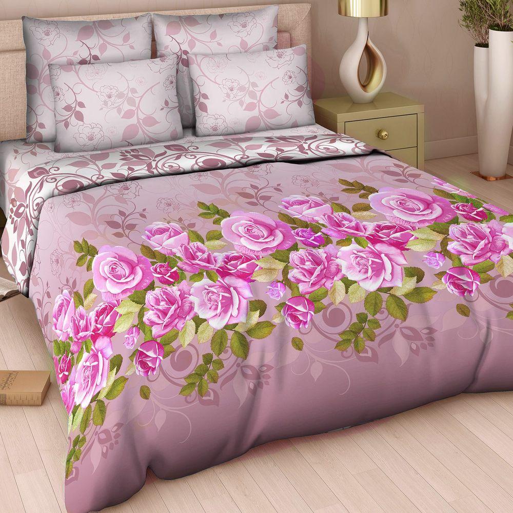 Комплект белья Арт Деко Королева красоты, евро, наволочки 70 x 70, цвет: бордовый. 7306/1