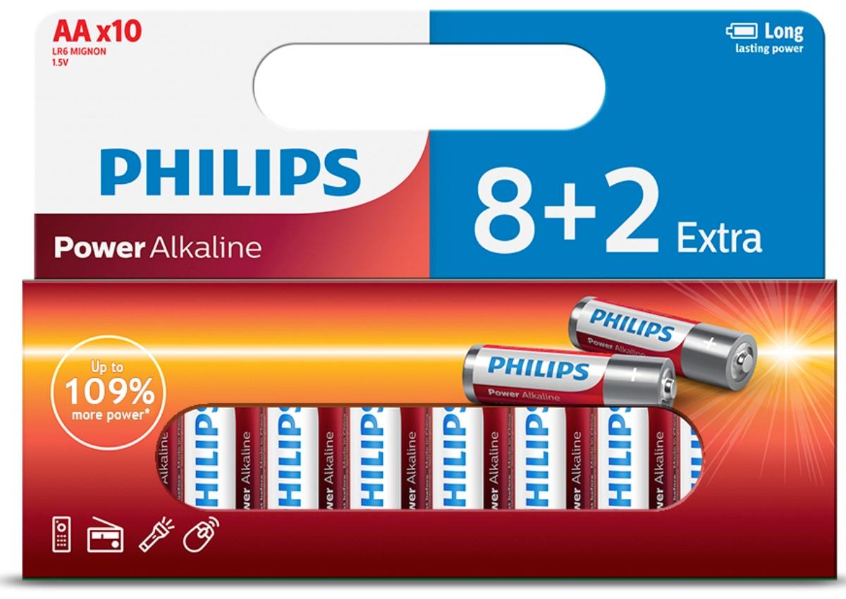 """Фото Батарейка щелочная Philips """"Power"""", тип AA, 1,5 В, 10 шт"""