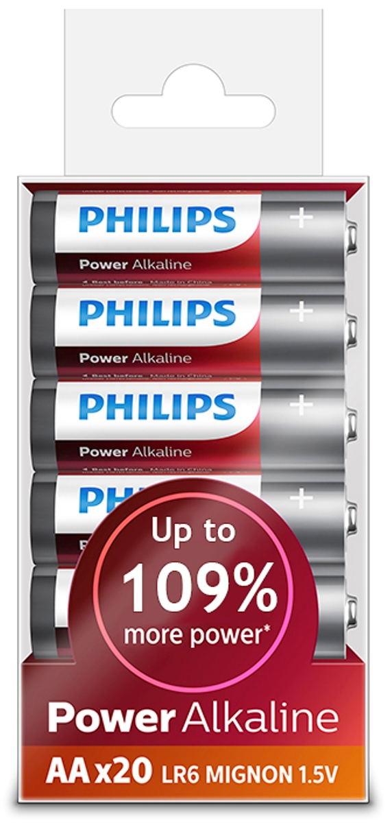"Батарейка щелочная Philips ""Power"", тип AA, 1,5 В, 20 шт"