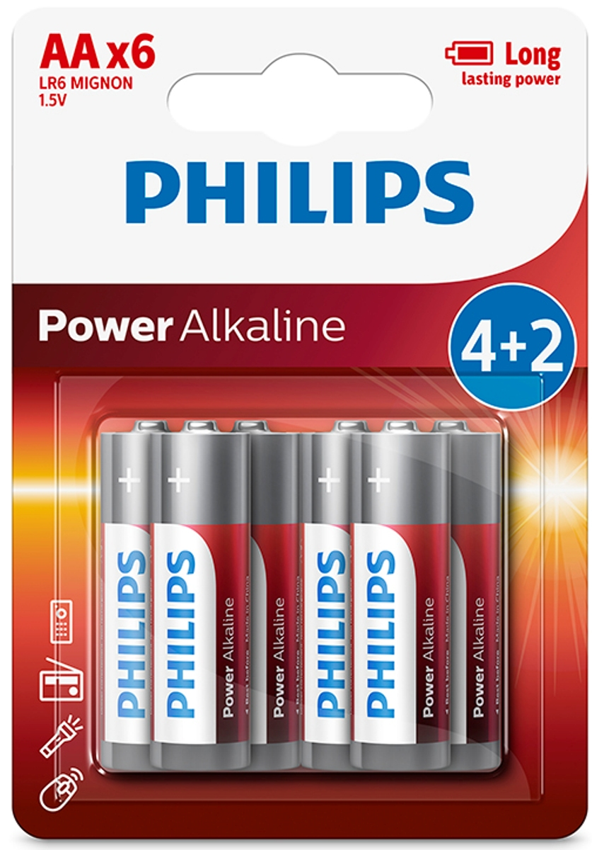 Батарейка щелочная Philips Power, тип AA, 1,5 В, 6 шт philips 37pfl4606h в одессе