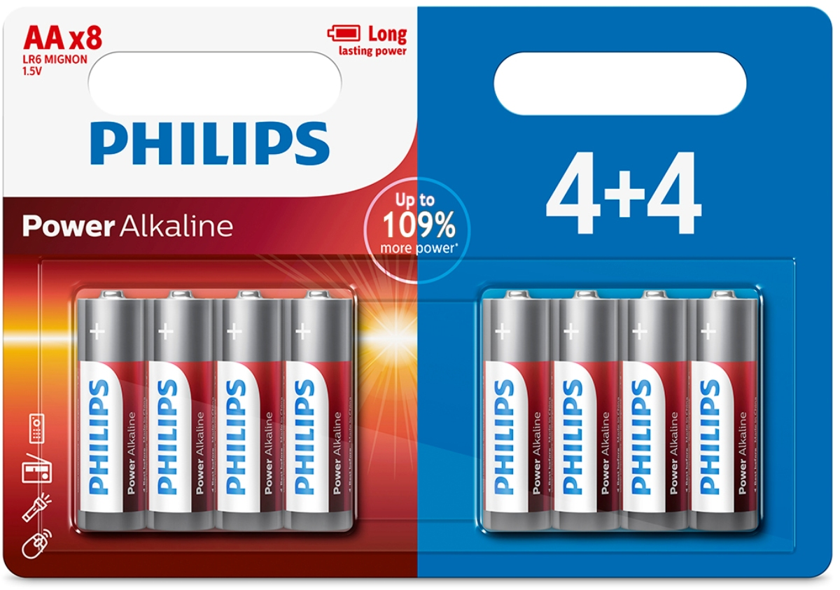 Батарейка щелочная Philips Power, тип AA, 1,5 В, 8 шт philips 37pfl4606h в одессе