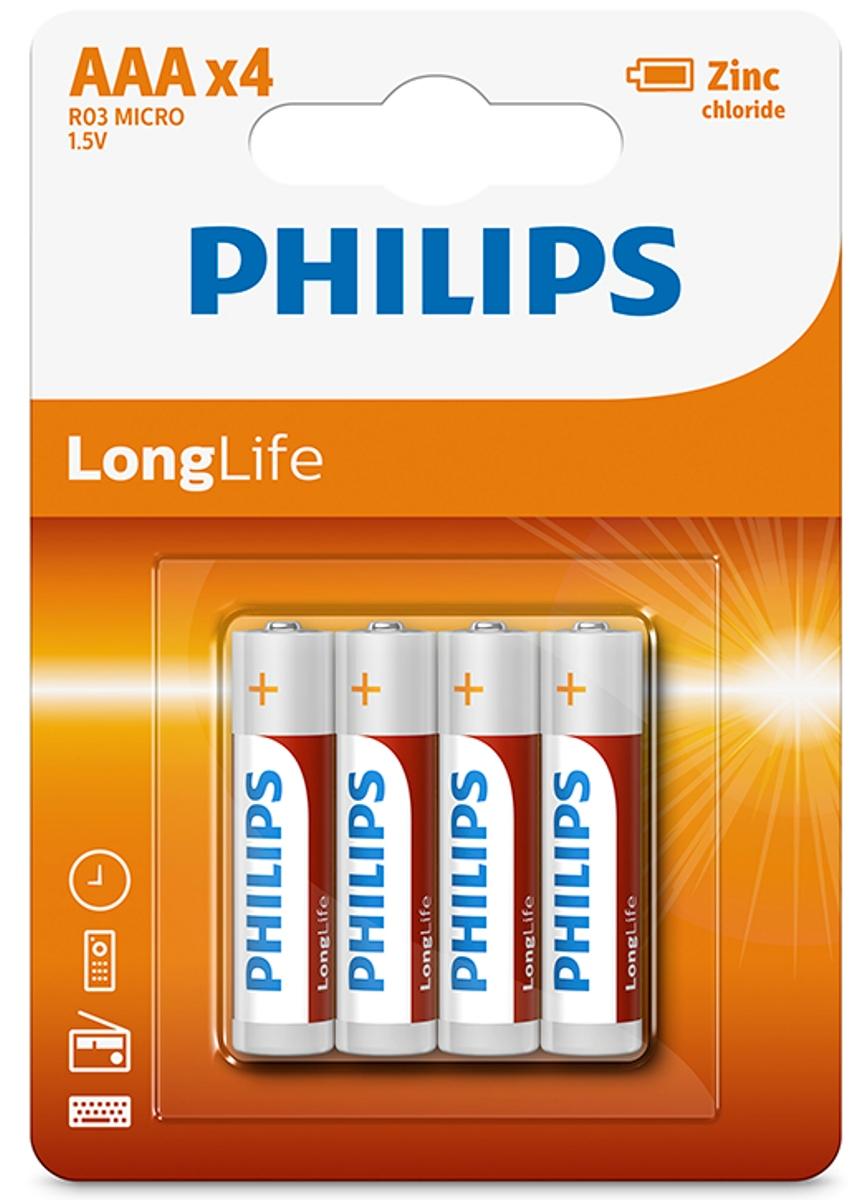 """Батарейка солевая Philips """"LongLife"""", тип AAА, 1,5 В, 4 шт"""