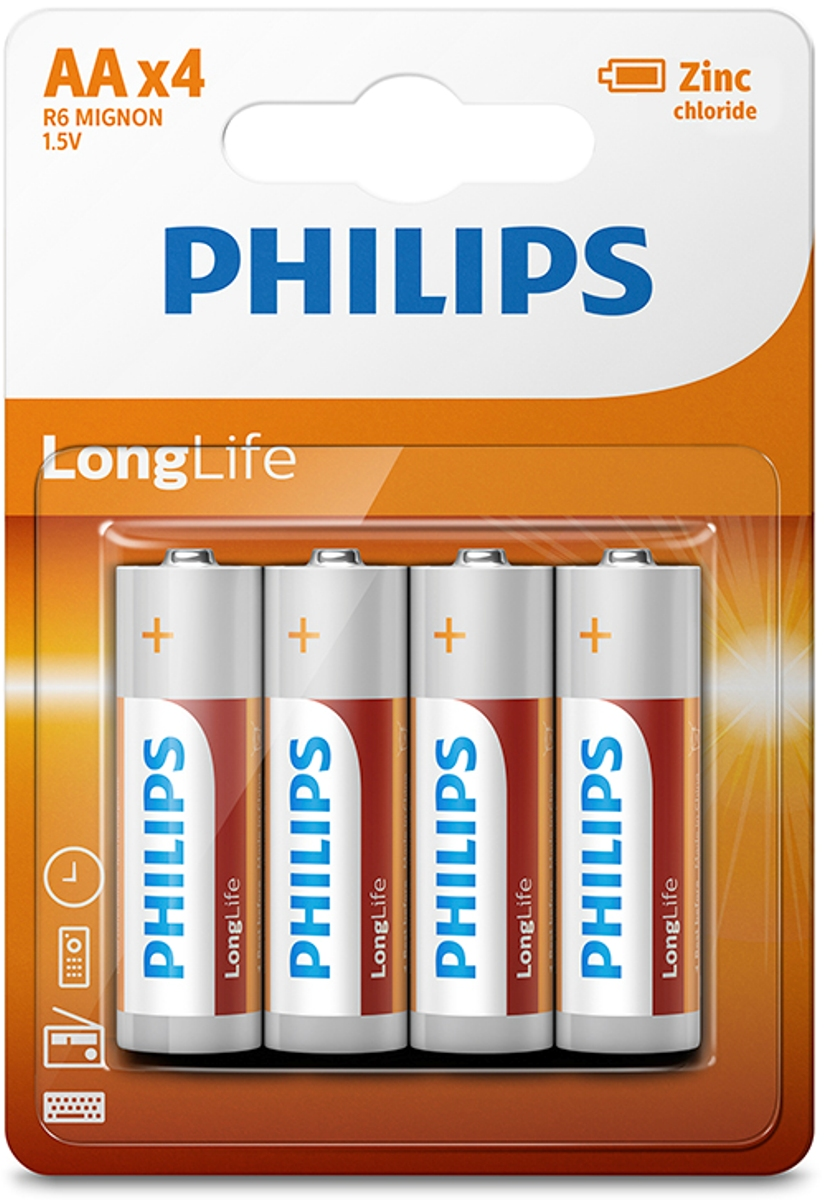 Батарейка солевая Philips LongLife, тип AA, 1,5 В, 4 шт