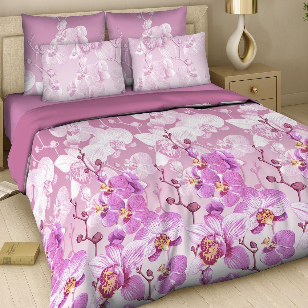 Комплект белья Арт Деко Красавица орхидея, семейный, наволочки 70 x 70, цвет: бордовый. 7345/1